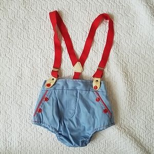 Vintage Blue and Red Baby Coveralls
